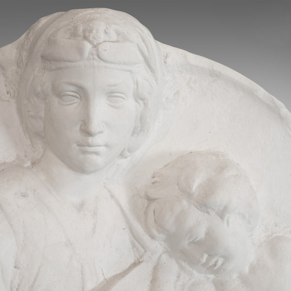 Vintage, High Relief Portrait, English, Plaster, Mother and Child, 20th Century - London Fine Antiques