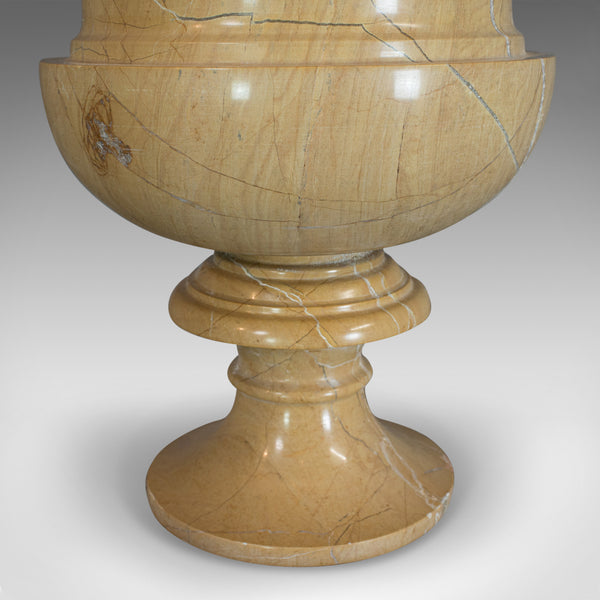 Vintage Ornamental Baluster Urn, English, Golden Pearl Marble, Decorative, Vase - London Fine Antiques