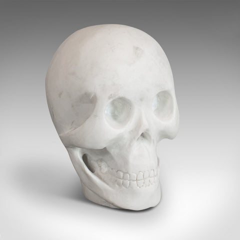 Vintage Ornamental Skull, English, White Marble, Decorative, Desk, Mantel - London Fine Antiques