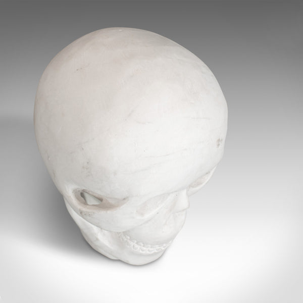 Vintage Decorative Skull, English, White Marble, Desk, Ornament, Paperweight - London Fine Antiques