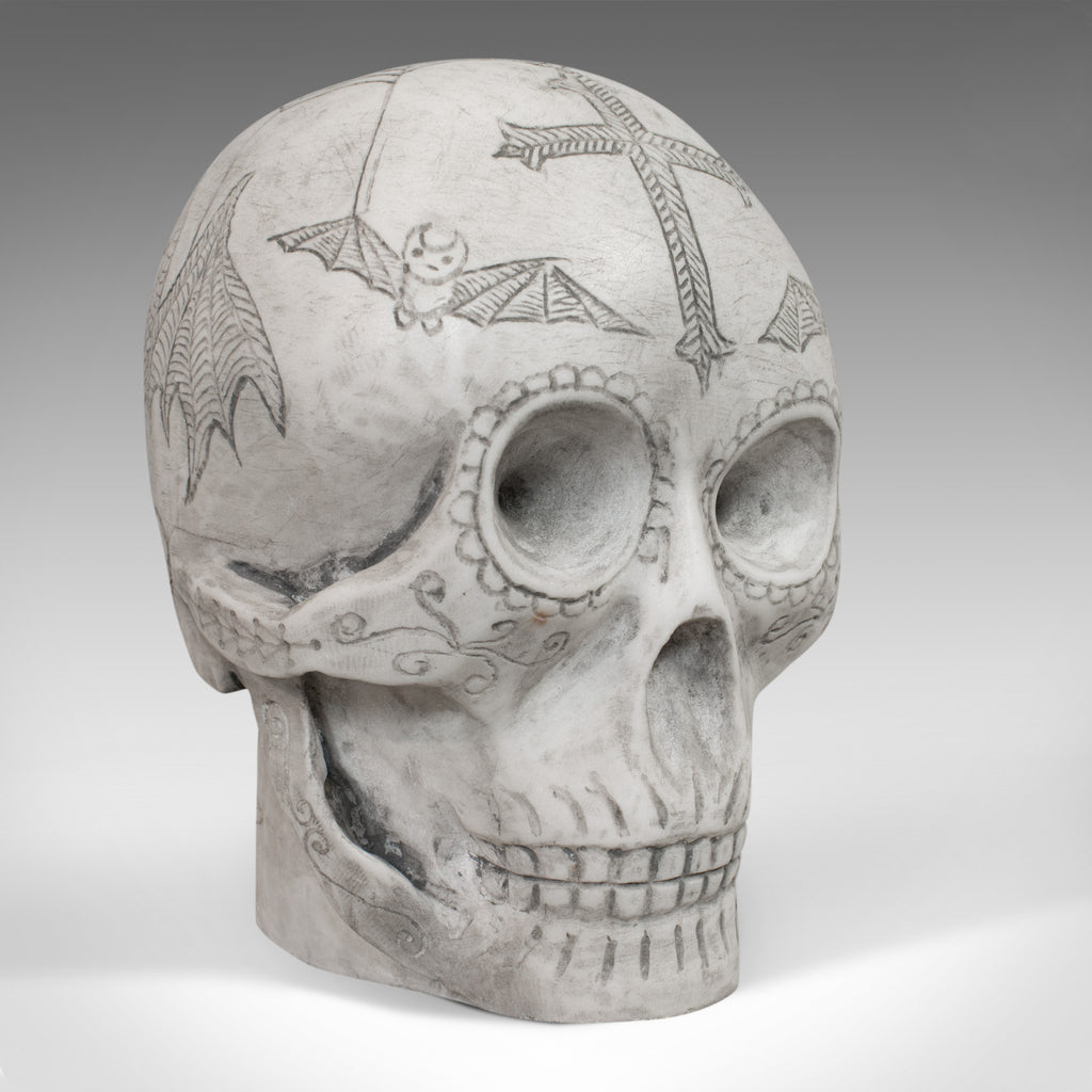 Vintage Decorated Skull, English, Marble, Ornament, Hand Finished, D. Hurley - London Fine Antiques