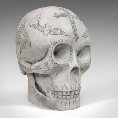 Vintage Decorated Skull, English, Marble, Ornament, Hand Finished, D. Hurley