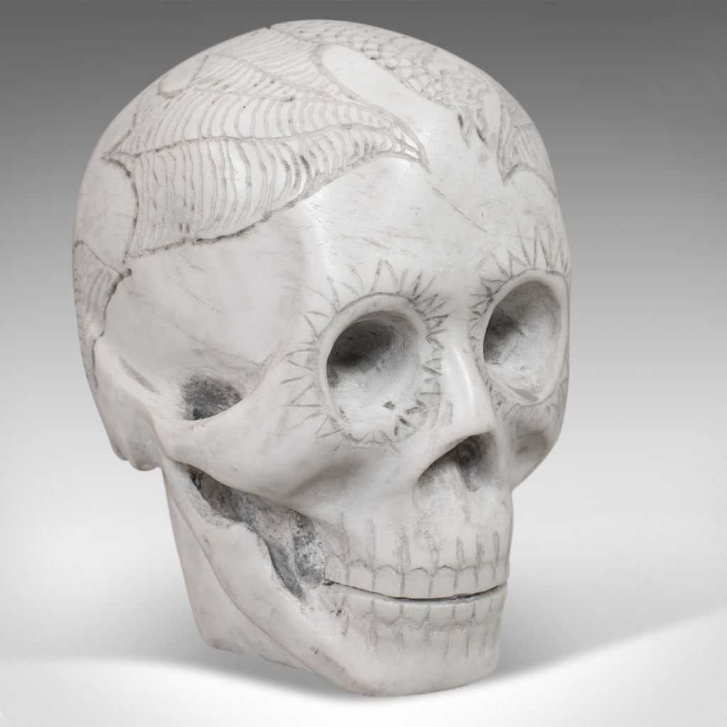 Vintage Decorative Skull Ornament, English, Marble, Showpiece, Dominic Hurley - London Fine Antiques