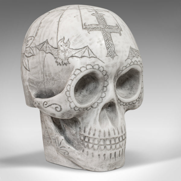 Vintage Hand Decorated Skull, English, Marble, Ornament, Paperweight, D. Hurley - London Fine Antiques