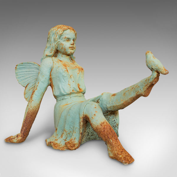 Vintage Fairy Garden Ornament, English, Cast Iron, Decorative, Statuette, Bird - London Fine Antiques
