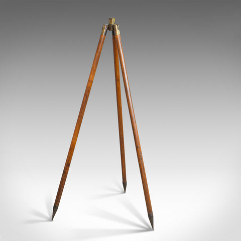 Compact Vintage Tripod, English, Bamboo, Brass, Telescope Stand, 20th Century