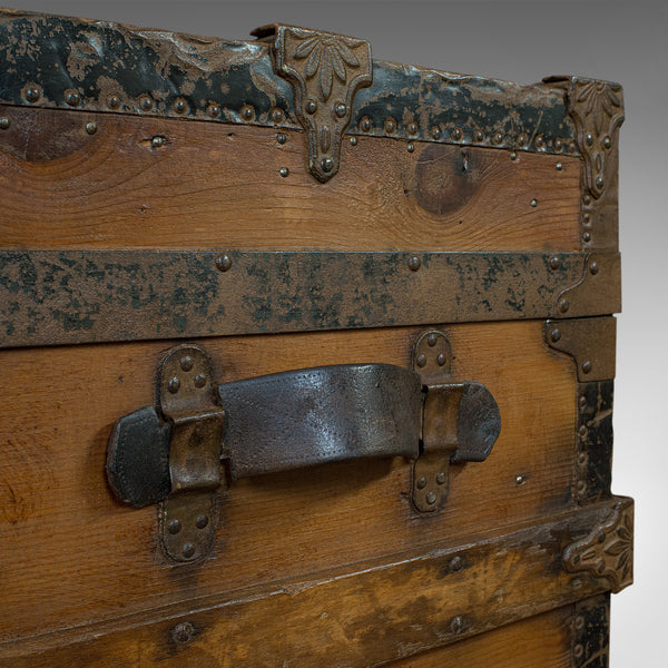 Antique Carriage Trunk, American, Spruce, Chest, AE Meek, Circa 1890, Western - London Fine Antiques