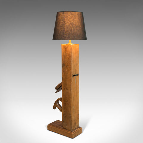 Vintage Table Lamp, English, Beech, Decorative, Light, Bench Plane, 20th Century