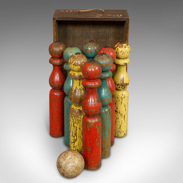 Antique Skittles Set, English, Pine, Indoor, Garden, Bowling, Oak, Victorian - London Fine Antiques