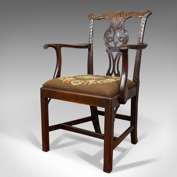 Antique Carver Chair, English, Mahogany, Needlepoint, Elbow, Chippendale Style - London Fine Antiques