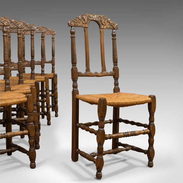 Set of 6 Antique Dining Chairs, French, Beech, Country Kitchen Suite, Circa 1900 - London Fine Antiques