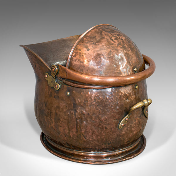 Antique Coal Bucket, English, Copper, Fireside, Scuttle, Victorian, Circa 1870 - London Fine Antiques