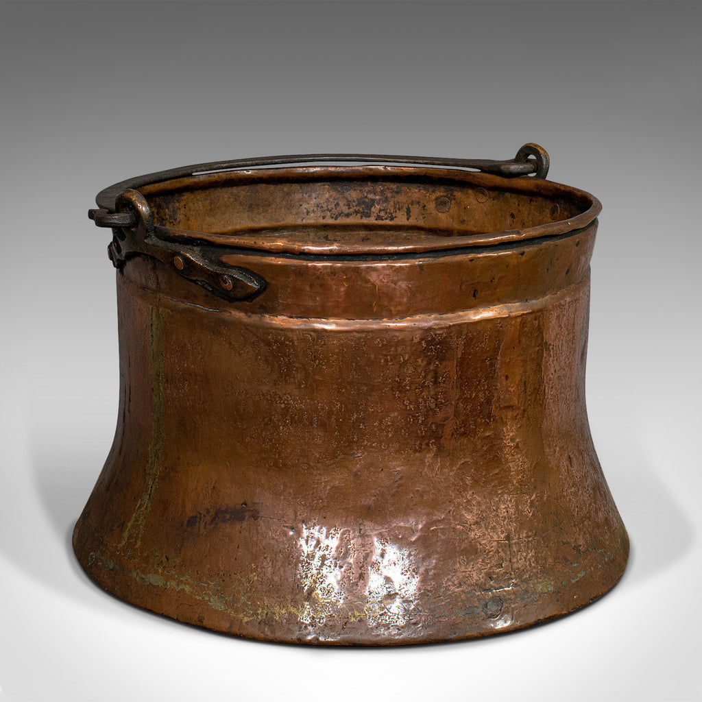 Large Antique Fire Bucket, English, Copper, Fireside, Log, Cauldron, Georgian - London Fine Antiques