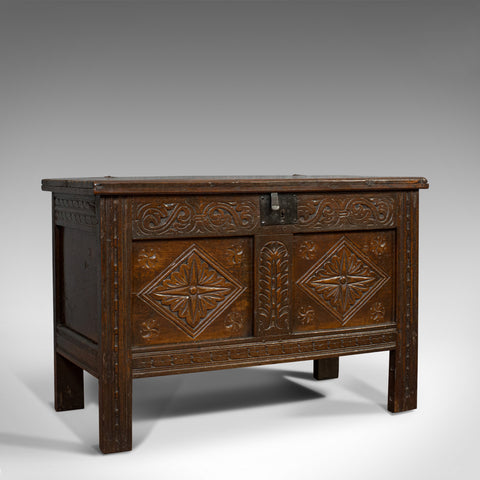 Compact Antique Coffer, English, Oak, Chest, Trunk, Early Georgian, Circa 1720 - London Fine Antiques