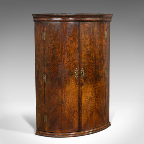 Antique Corner Cupboard, English, Oak, Bow Front, Hanging Cabinet, Georgian - London Fine Antiques