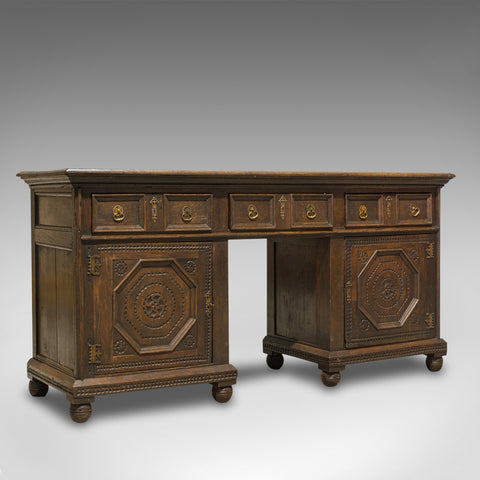 Antique Pedestal Desk, English, Oak, Georgian, 18th Century, C.1800 - London Fine Antiques