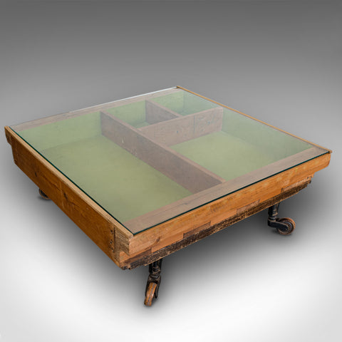 Designer Coffee Table, English, Pine, Glass, BBC, Money For Nothing, Sarah Moore