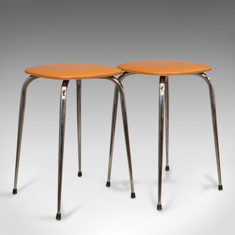 Pair Of Vintage Lounge Stools, French, Leatherette, 1960s Stool, 20th Century - London Fine Antiques