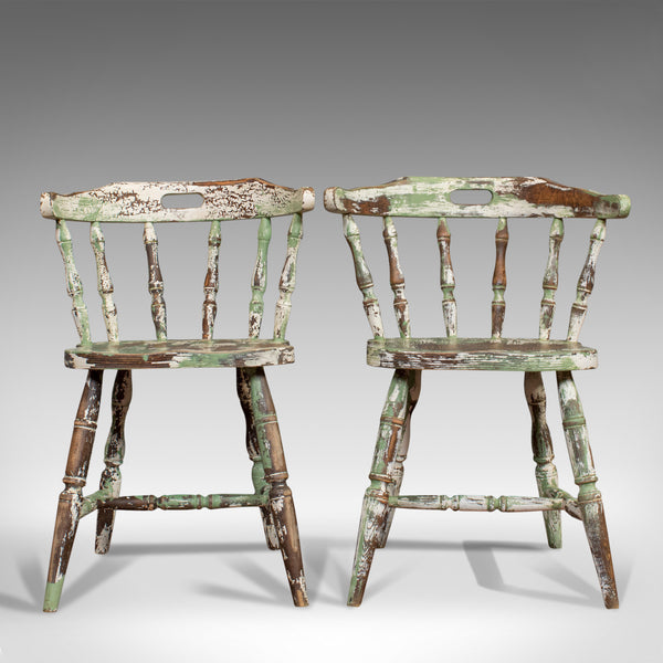Pair Of Antique Windsor Chairs, French, Beech, Bow Back Chair, Late 19th Century - London Fine Antiques