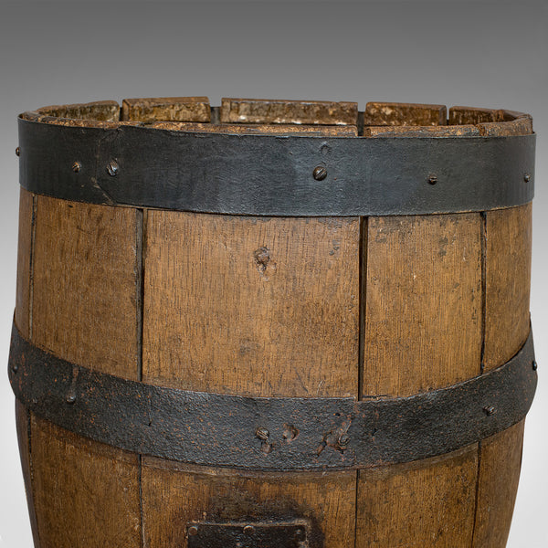Antique Coopered Whiskey Barrel, English, Oak, Oval, Stick Stand, Victorian - London Fine Antiques