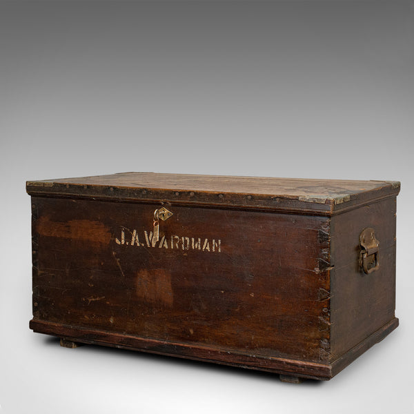 Antique Officer's Chest, English, Mahogany, Travelling Trunk, 19th Century - London Fine Antiques