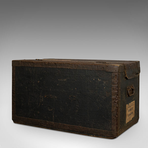Antique Explorer's Portmanteau, English, Canvas, Travel, Trunk, Chest, Victorian - London Fine Antiques