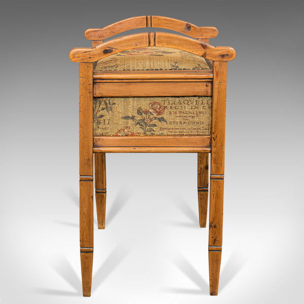 Antique Music Locker Stool, English, Pine, Piano, Bench, Edwardian, Circa 1910 - London Fine Antiques