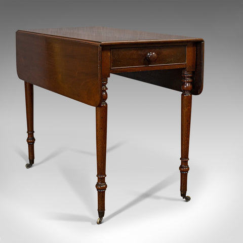 Antique Pembroke Table, English, Mahogany, Drop Leaf, Side, Occasional, Regency