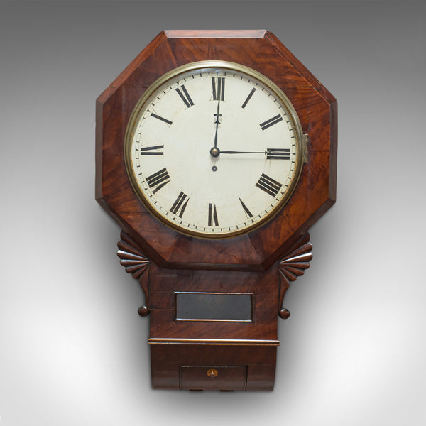 Antique Drop Dial Wall Clock, English, Timepiece, Fusee, Victorian, Circa 1870