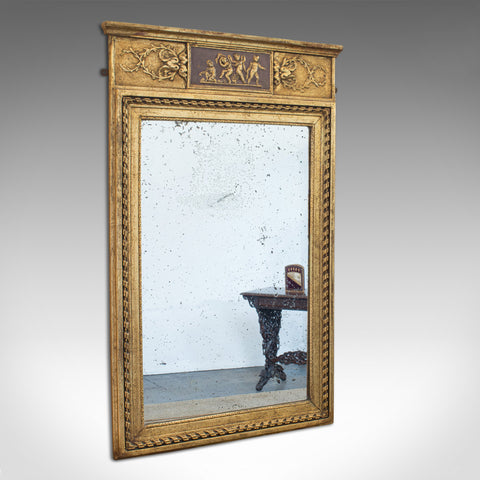 Antique Pier Mirror, English, Gilt Gesso, Hall, Foxing, Regency, Circa 1820