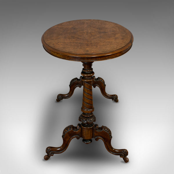 Antique Oval Table, English, Burr Walnut, Centre, Side, Victorian, Circa 1870