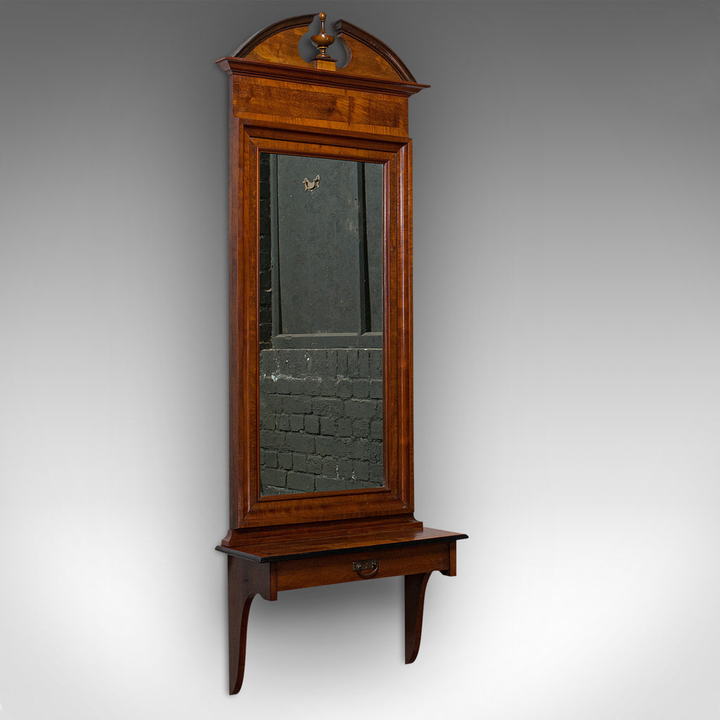 Tall, Vintage Hall Mirror, French, Walnut, Glass, Hallway, Portrait, Circa 1930