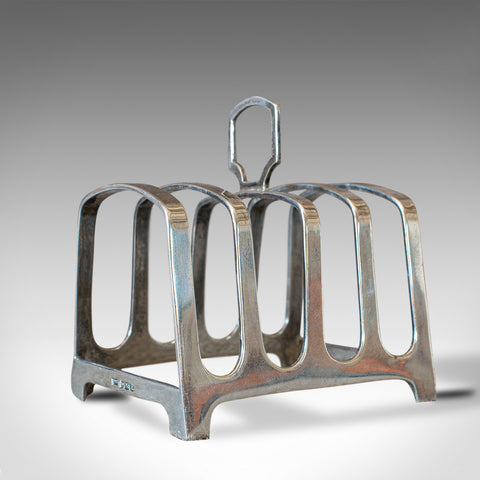 Small Vintage Toast Rack, English, Silver, Hallmarked, Breakfast, Circa 1947 - London Fine Antiques