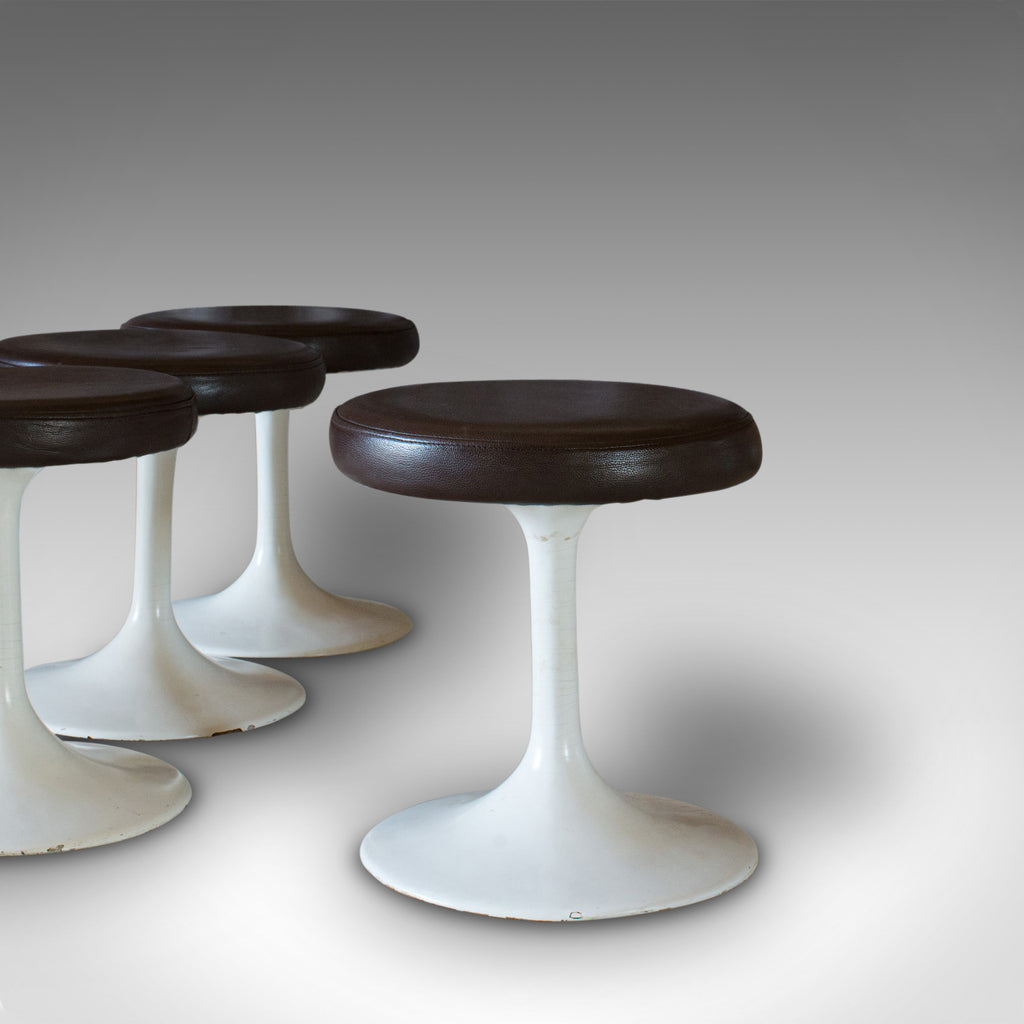 Set of 4, Vintage Stools, French, Leather, Pedestal, 20th Century, Circa 1960 - London Fine Antiques
