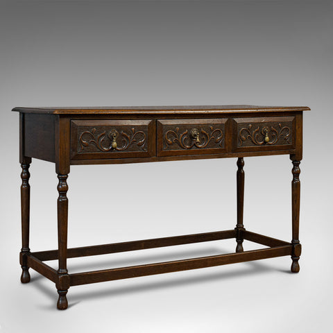 Antique Dresser Base, English, Oak, Side, Hall, Table, Edwardian, Circa 1910