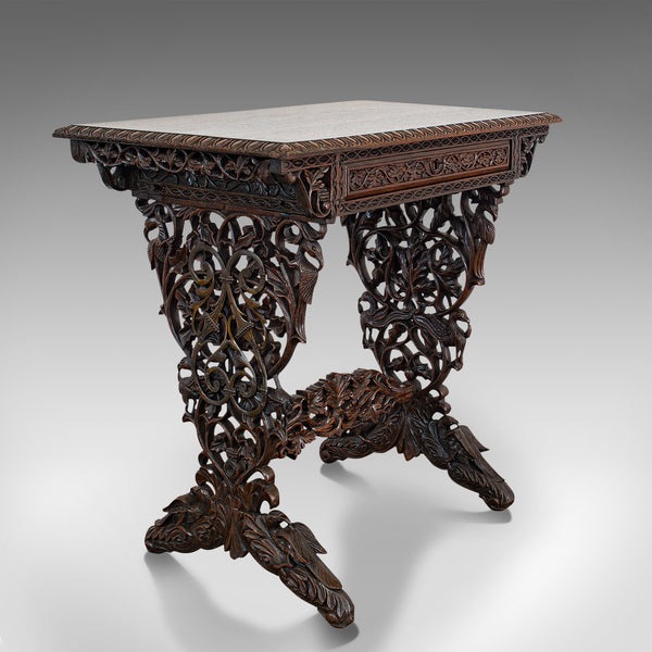 Antique Small Writing Desk, Asian, Rosewood, Side, Lamp, Table, Victorian, 1850