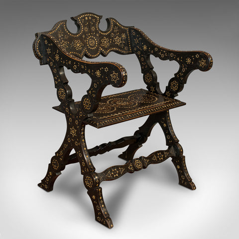Antique X-Frame Chair, Middle Eastern, Mahogany, Seat, Bone Inlay, Circa 1850