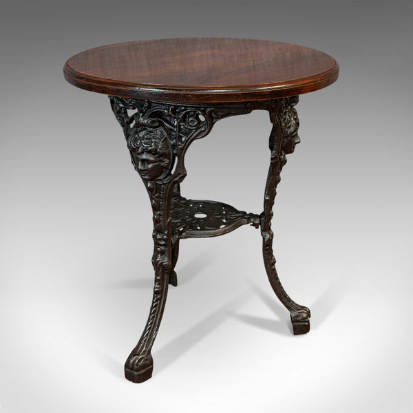 Antique Britannia Table, English, Cast Iron, Beech, Outdoor, Garden, Circa 1900