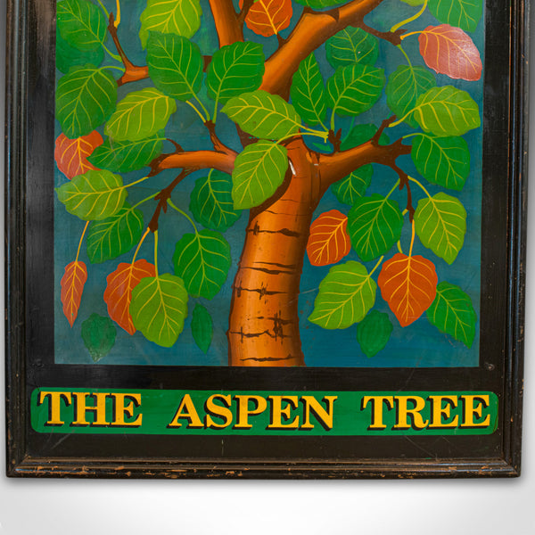 Vintage Pub Sign, English, Pine, Hand Painted, 'The Aspen Tree', Circa 1950