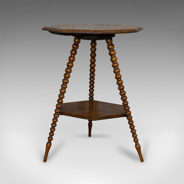 Antique Gypsy Table, English, Oak, Side, Lamp, Bobbin Turned, Victorian, C.1890 - London Fine Antiques