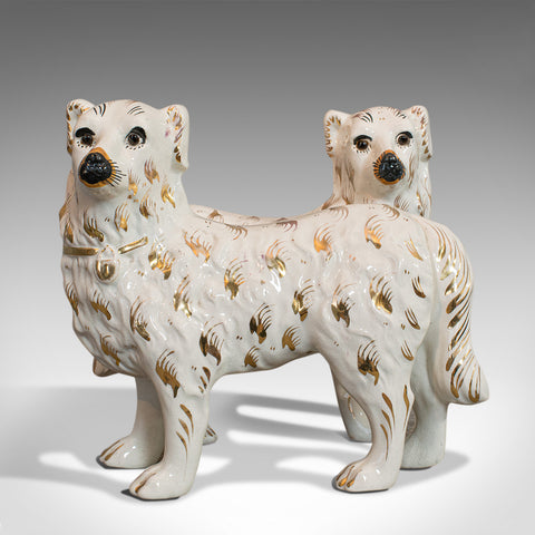 Pair Of Antique Staffordshire Dogs, English, Ceramic, Decorative, Figure, C.1900 - London Fine Antiques