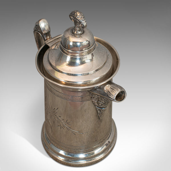 Antique Coffee Pot, English, Silver Plate, Beverage Jug, 19th Century, C.1900 - London Fine Antiques