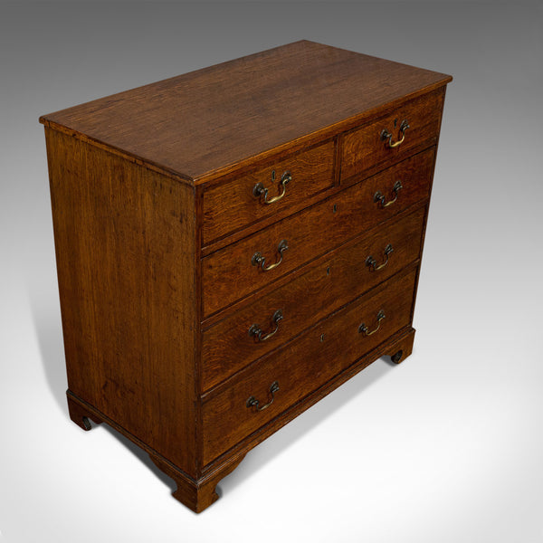 Antique Chest of Drawers, English, Oak, Tallboy, Early Victorian, Circa 1840