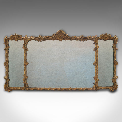 Antique Triptych Mirror, Italian, Gilt Gesso, Overmantle, Hanging, Circa 1850 - London Fine Antiques