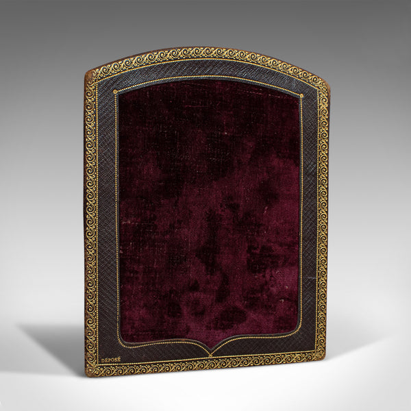 Antique Picture Frame, French, Leather, Velvet, Boudoir, Fleur De Lys, C.1900 - London Fine Antiques