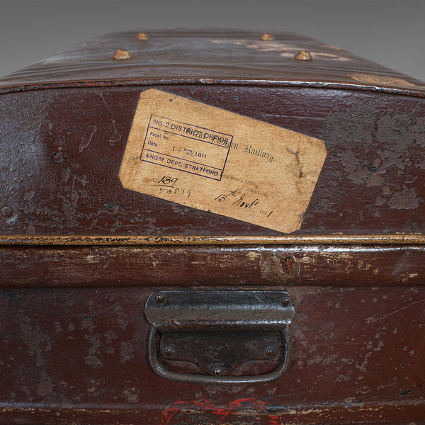 Antique Carriage Trunk, English, Steel, Railway, Steamer, Chest, Victorian - London Fine Antiques