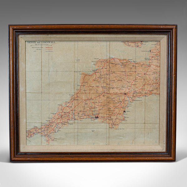Vintage Framed Map, English, Mahogany, Illustrated, Devon, Cornwall, Circa 1970