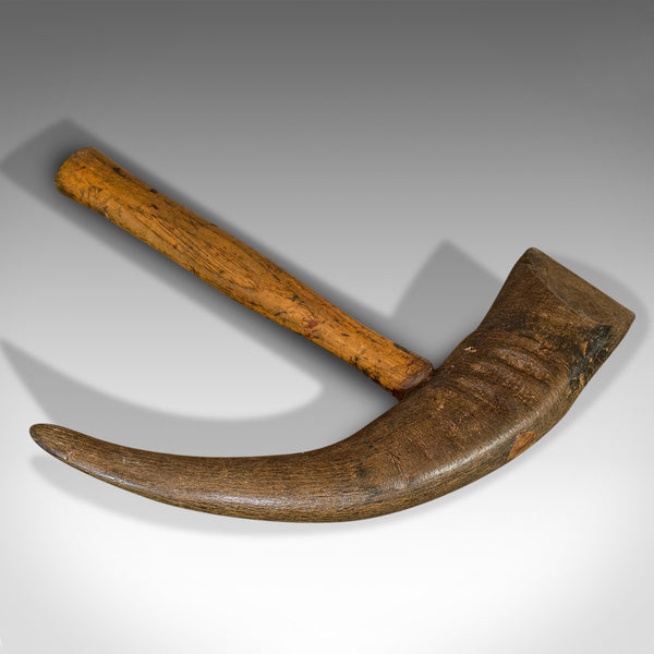 Antique Horn Ice Pick, Nordic, Goat, Oak, Display, Axe, Survival, Tool, 1850 - London Fine Antiques