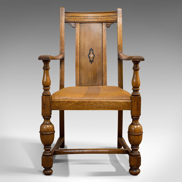 Set Of 6, Antique Dining Chairs, English, Golden Oak, Edwardian, Circa 1910