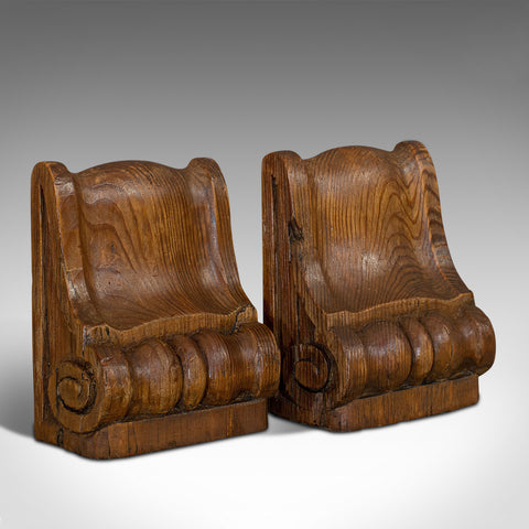 Pair Of, Vintage Bookends, English, Pitch Pine, Corbel, Wren's Church, London
